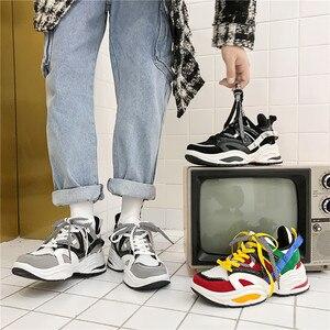 Image 5 - 2020 yeni yastık sönümleme erkekler rahat vulkanize ayakkabı ağ dokuma erkek Flats ayakkabı beyaz baba Sneakers siyah açık yürüyüş erkekler
