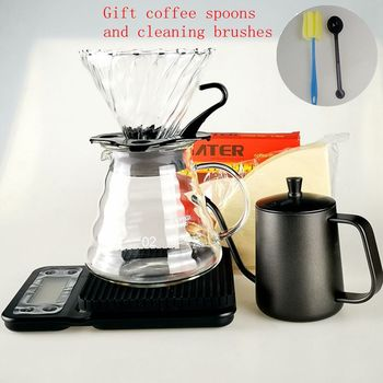 2020 New V60 Filter Cup coffee Strainer Set Electronic Coffee Scale 350ml Coffee Kettle Filter Cold Dripper Barista Tools