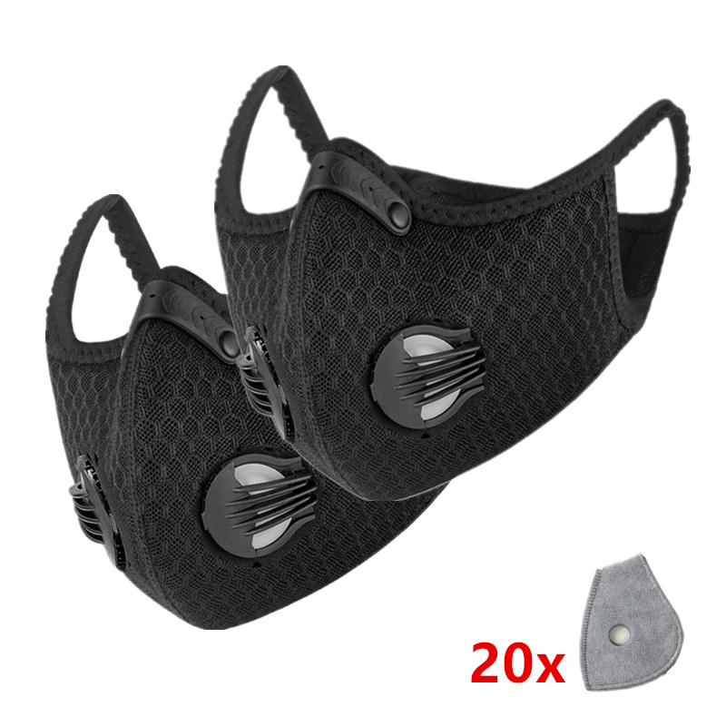 2PCS Men Women Cycling Mask with Filters Dust Black Bike Facemask Bicycle Sports Mask for Mouth Face Washable Reusable Face Mask