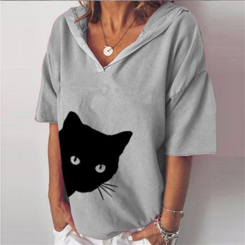 Plus-size women's European and American cat print hooded casual loose-fitting T-shirt with short sleeves plus size cat print hoodie with ears