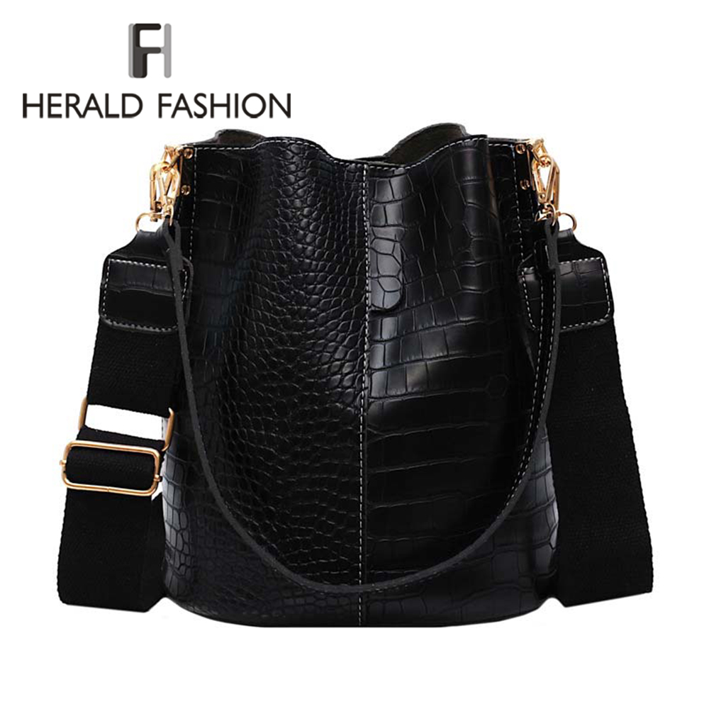 Women Alligator Pattern Over The Shoulder Bag Big Capacity Capacious Bag Retro Elegant Shopping Bags PU Leather Bucket Handbag