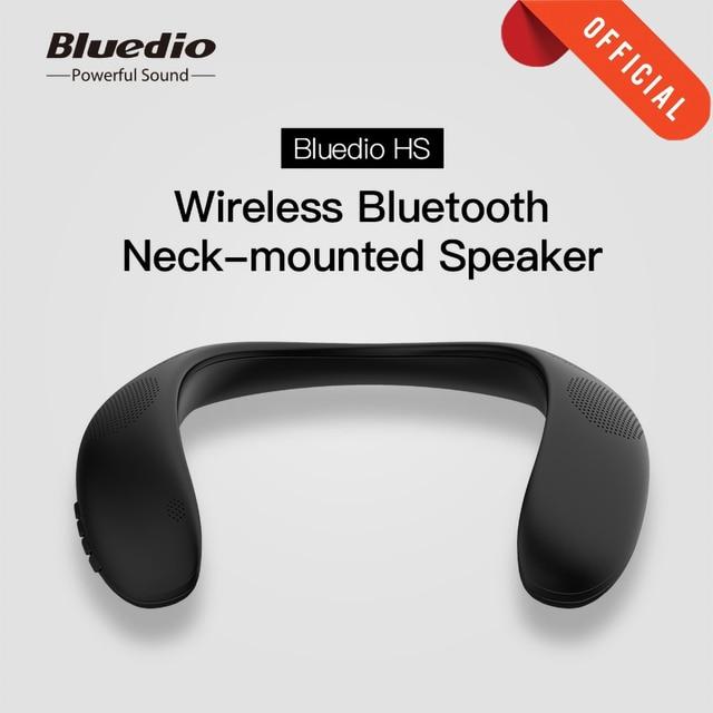 Bluedio HS Neck mounted Speaker Wireless Bluetooth 5.0 Portable Speakers with Bass FM Radio SD Card Slot surround sound Black