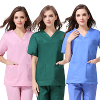 S 4XL Pure Cotton Medical scrubs Short Sleeve Nursing Uniforms V neck Solid color Dental Clinic Nurse Scrub top Medical Workwear