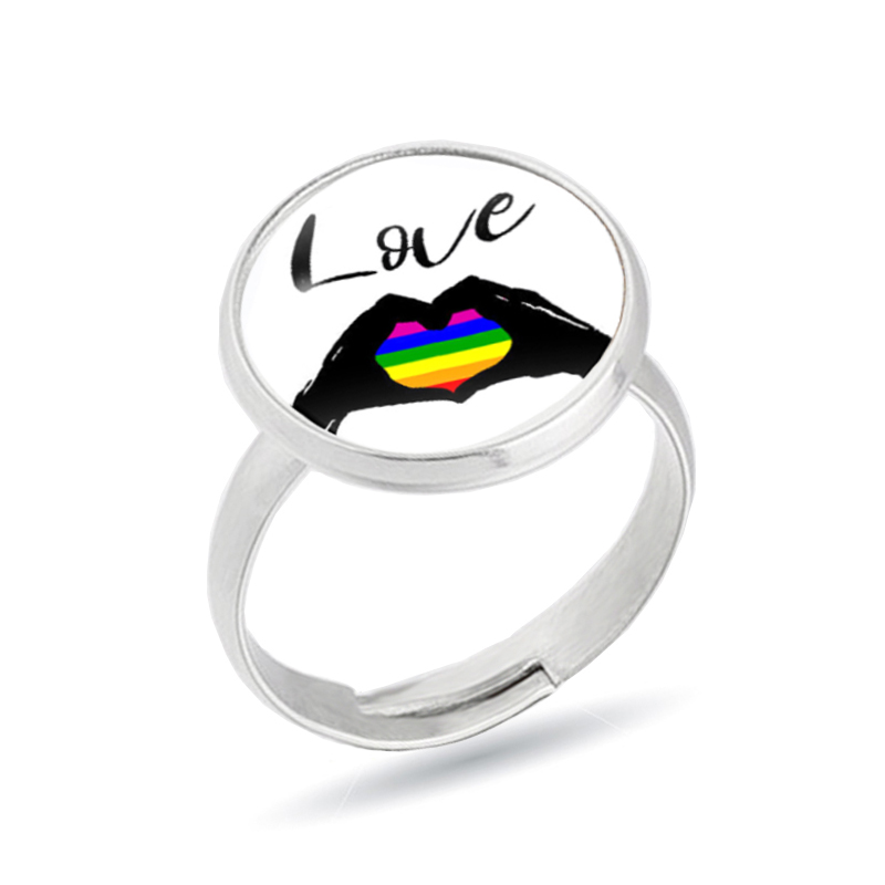 2019 new Stainless Steel Rings Lesbian <font><b>Bisexual</b></font> Lgbt Gay Pride Homosexual Same Sex Rainbow Ring <font><b>Jewelry</b></font> for Men & Women 9mm Wide image