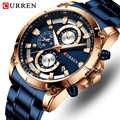 CURREN นาฬิกาข้อมือผู้ชายยอดนิยมนาฬิกาแฟชั่นสุดหรู Quartz นาฬิกาผู้ชายกันน้ำนาฬิกาข้อมือชาย Chronograph ...