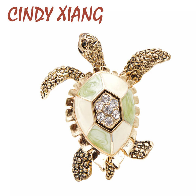 CINDY XIANG-broches de diamantes de imitación de tortuga para mujer, Pin de esmalte Vintage, accesorios de Pin de Animal de moda, joyería creativa 1