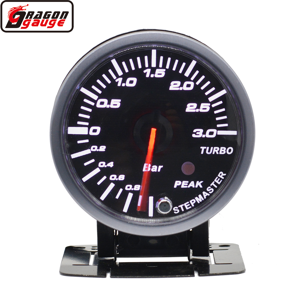 Датчик давления Dragon 60 мм турбо для автомобиля, измеритель давления с черной поверхностью, с белой/красной подсветкой, 1 ~ 3 бар, турбина, Mete