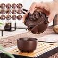 Китайский портативный чайный набор с двенадцатью знаками Зодиака для путешествий фиолетовая глина yixing чайный горшок quik-горшки чайная посу...