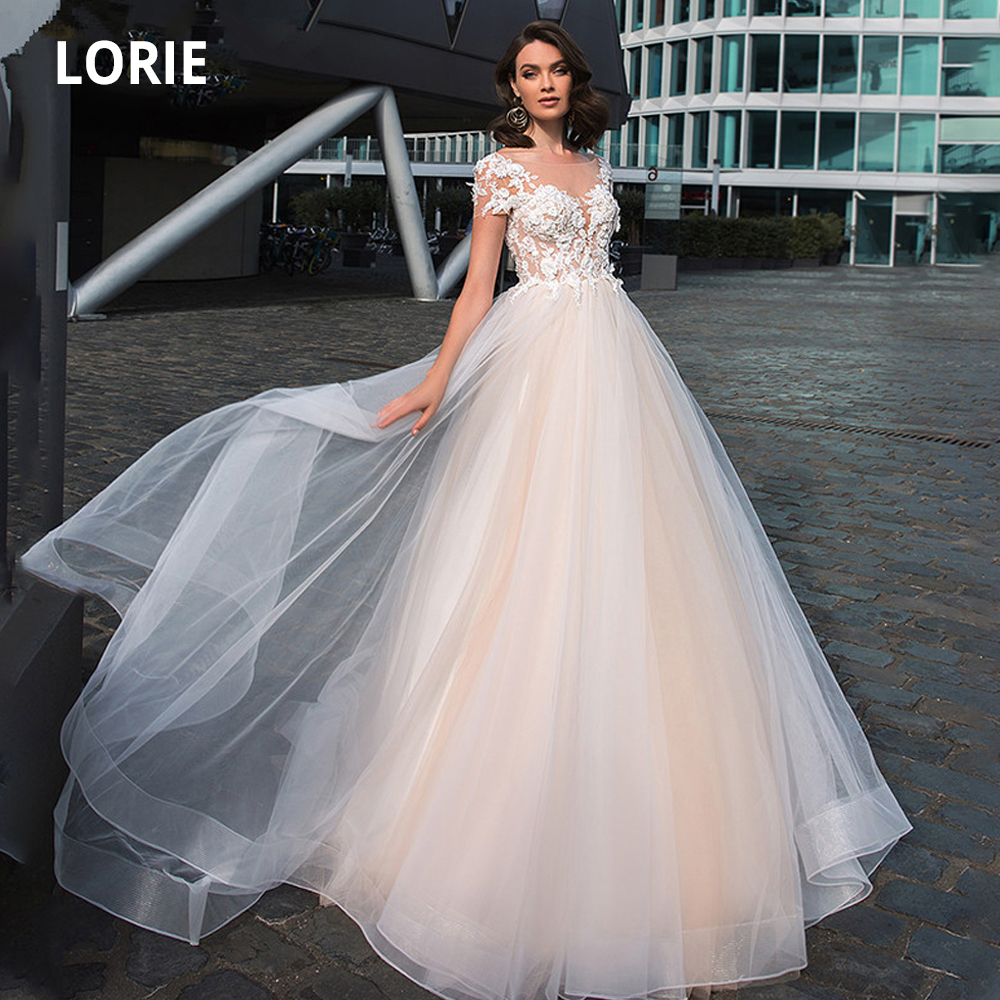 LORIE Light Pink Princess Wedding Dresses Soft Tulle Lace Appliqued Short Sleeve Bridal Gown Beach Boho Wedding Party Dress 2020