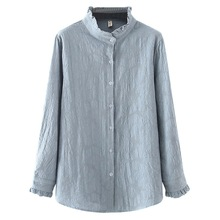 Oversize Blouses Tops Women Shirt Cotton Jacquard Long-Sleeve Loose Spring/autumn Casual