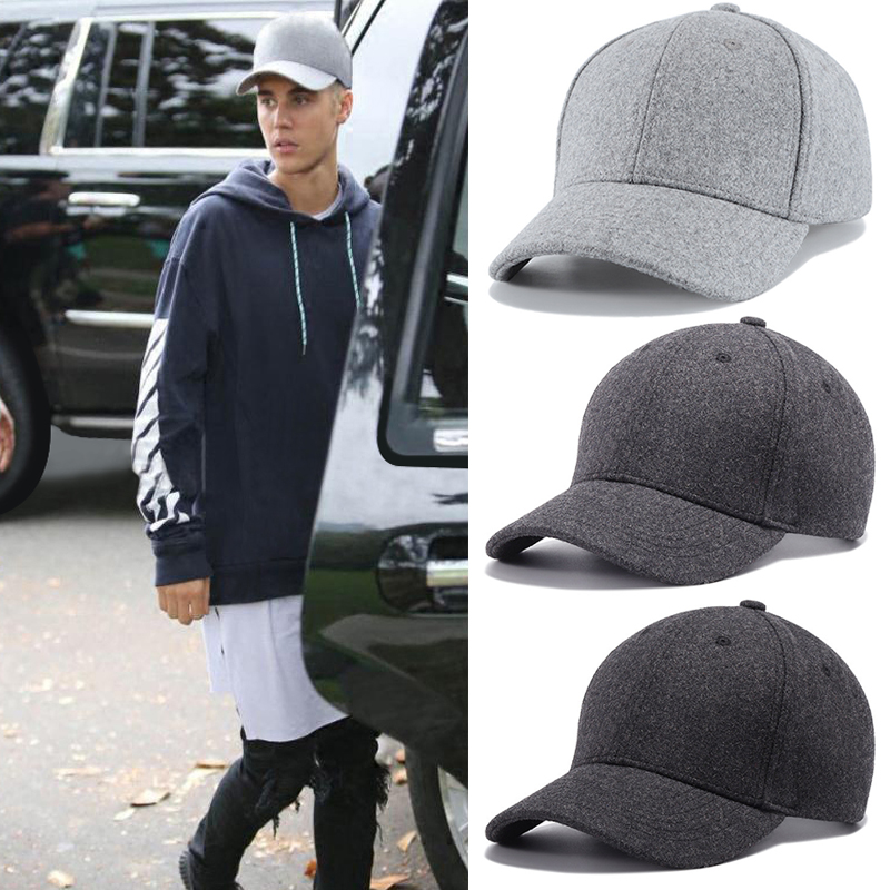 Men Big Head Baseball Cap,Black/Gray Color Adult Peaked Cap With Large Size Circumference 56-68cm Wool Hip Hop Hat