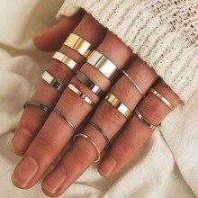 Anillos de acero inoxidable Vintage de Abdoabdo para mujeres nuevo anillo creativo de moda de tres colores de espesor anillo de 14 piezas conjunto de anillo de articulación