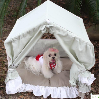 Comfortable and beautiful dog tent soft thick cushion kennel lace pet room