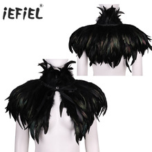 Womens Gothic Cocktail Victorian Natural Feather Cape Shawl Stole Poncho with Choker Collar for Halloween Costume Party Clubwear