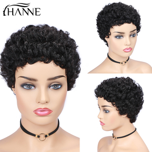 Image 2 - Kurz Menschliches Haar Perücken Bob Perücke Für Schwarze Frauen Brasilianische Remy Haar Perücke Für African American Flauschigen Lockiges Freies Shipp HANNE Haar