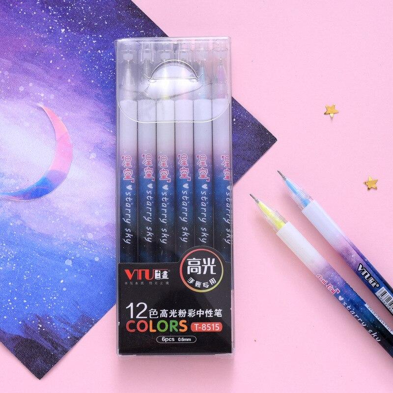 6 pcs pack Double Head Marker Starry Sky Colorful Gel Pen Signature Pen Escolar Papelaria School