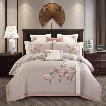 Svetanya Embroidered Egyptian Cotton Bedding Set Queen King Full Double Size Linens (Flat Fitted Sheet Pillowcase Duvet Cover)