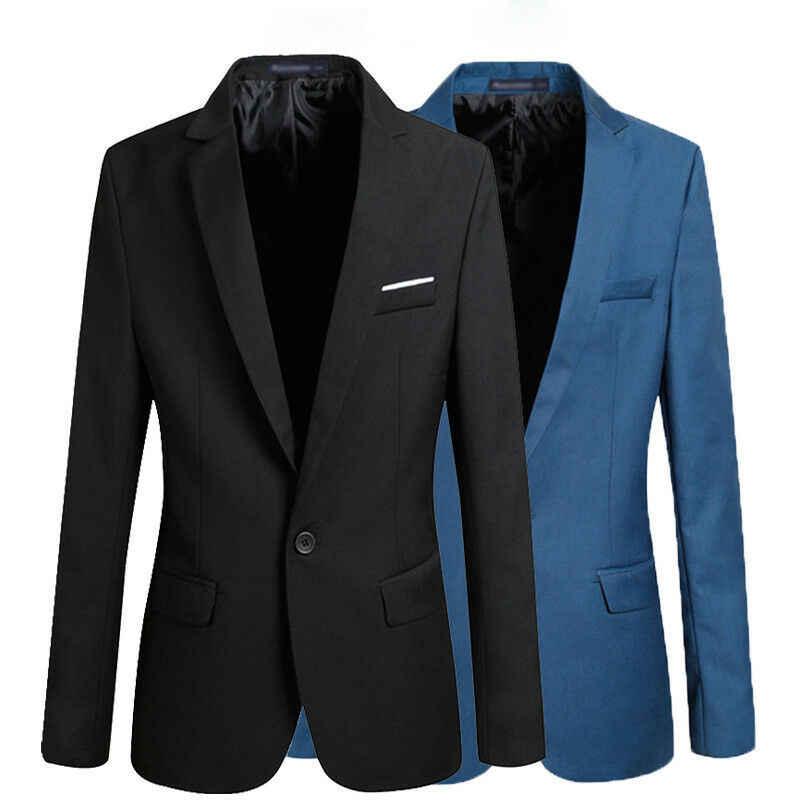 Pria Korea Slim Fit Katun Blazer Jas Hitam Biru Ukuran M-3XL Male Blazers Hot Sale