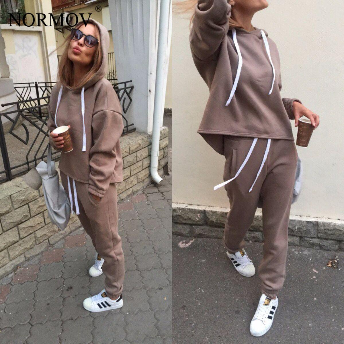 NORMOV Two Piece Set Tracksuit Long Sleeve Thicken Hooded Sweatshirts 2 Piece Set Casual Sport Suit Women Tracksuit Set