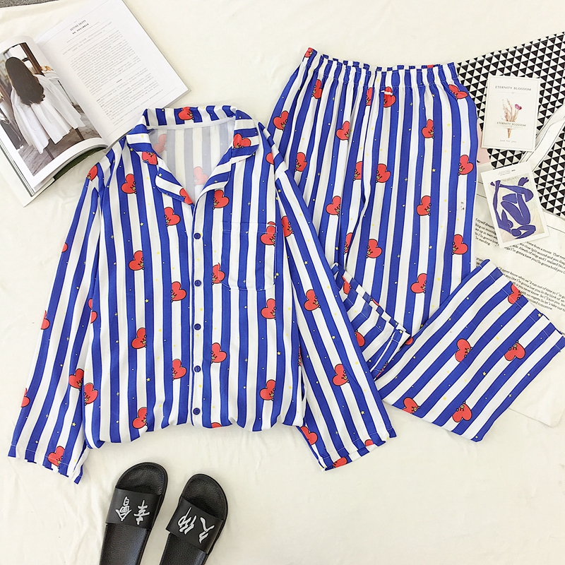 New Cartoon Sleepwear Heart Stripe Print Pajamas Sets Women Harajuku Pajamas Women Long Sleeve Shirt Nightwear Set
