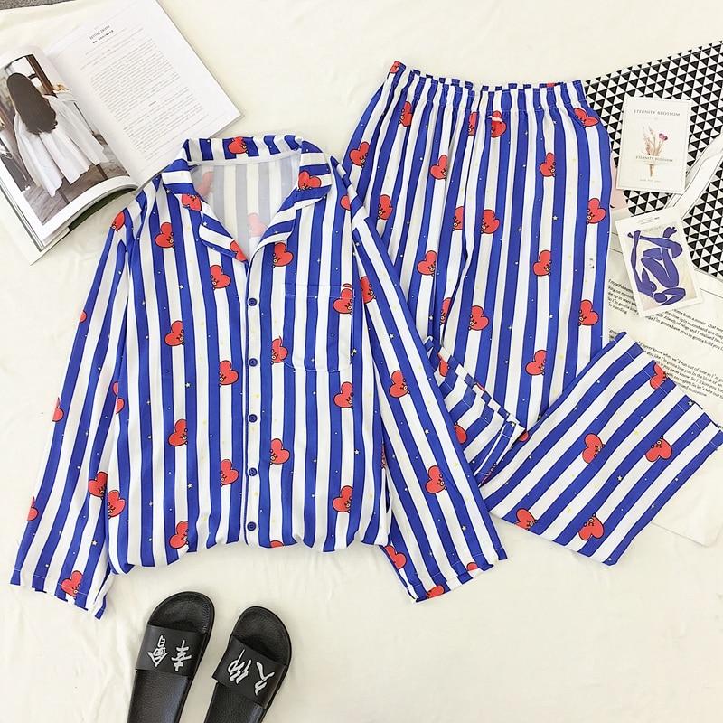 New Cartoon Sleepwear Heart Stripe Print Pajamas Sets Women Harajuku Pajamas Women Long Sleeve Shirt Nightwear Set