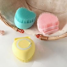 Silicone Bath Brush Shower Scrubber with Gel Dispenser Massage Exfoliating Comb