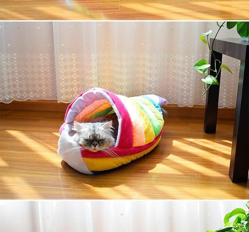 Nouveau Creative Pet chien chat lits arc-en-ciel bateau tapis Teddy lapin lit maison panier pour petit moyen chien doux chaud lits maison AEZLZ541
