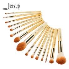Бамбуковые Кисточки для макияжа Jessup, 15 шт., pincel maquiagem, тени для век, консилер, пудра, подводка для глаз, хайлайтер, набор для красоты, синтетические T142