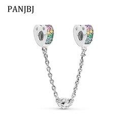 Yeni Orijinal 925 Ayar Gümüş Boncuk Çok Renkli Yaylar Aşk Klip güvenlik zinciri Fit Pandora Bilezik Kolye DIY Kadınlar mücevher