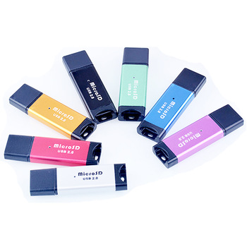 Suitable For SD/SDHC/Mini SD/MMC/TF Card USB2.0 Aluminium Alloy TF Card Memory Card Reader Random Color Dopshipping image