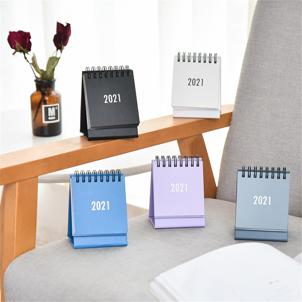 2021 2021 Simple Desktop Calendar Solid Color Series Dual Daily Schedule Planner Yearly Agenda Organizer Office Accessories 1