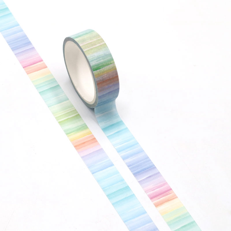 NEW Cute Watercolor Print Rainbow Washi Tape Japanese Paper For DIY Planner Scrapbooking Decorative Masking Tape Stationery
