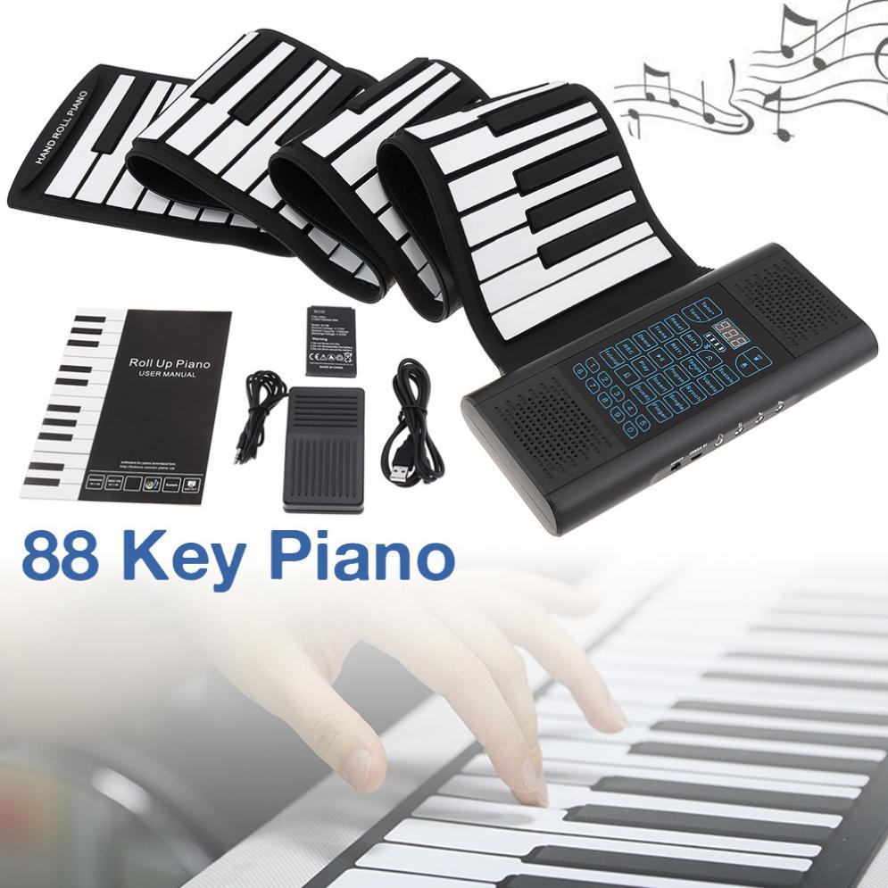 Teclas Rolam Acima Eletrônico Piano Recarregável Silicone Teclado Flexível Órgão Embutido 2 Alto-falantes Suporte Midi Bluetooth 88