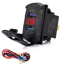 急速充電 3.0 デュアル usb ロッカースイッチ qc 3.0 急速充電器 led 電圧計のためにボート車のトラックオートバイスマートフォンタブレット