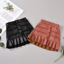 Girl skirts kids Pu leather good quality skirts spring autumn new ruffles princess skirts straight children clothes 6M-5Y