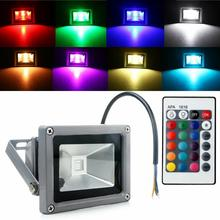 RGB LED Flood Light WaterProof 10W 20W 30W 50W colorful remote control Outdoor Wall Lamp Garden Projector DC12V 5pcs remote control solar panel powered road light 20w 30w 50w led street light outdoor garden path spot wall emergency lamp