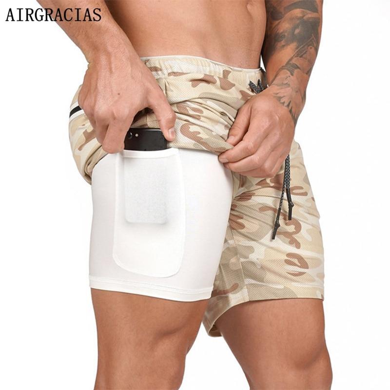 AIRGRACIAS Men 2 In 1 Running Shorts Security Pockets Short Quick Drying Sport Shorts Bodybuilding Summer Shorts Size M-5XL