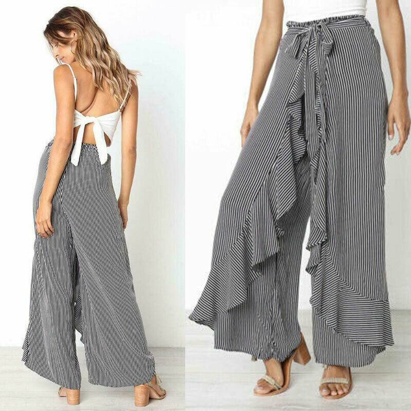 Brand New Womens Boho Floral Long Pants Palazzo Wide Leg Pants Female Fashion Ruffles Loose Baggy Harem Trousers Dropshipping