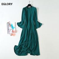 High Quality New Celebrity Inspired Women's Dress 2019 Autumn O Neck Tunic Buttons Up Split Sexy Flare Sleeve Midi Green Dress