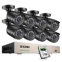 ZOSI 8CH CCTV System H.265+ HD-TVI DVR kit 8 1080p Home Security Waterproof Outdoor Night Vision Camera Video Surveillance Kit