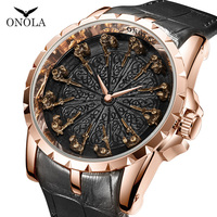 ONOLA brand unique quartz watch man 2019 luxury rose gold leather wristwatch fashion cusual waterproof Vintage Relogio Masculino