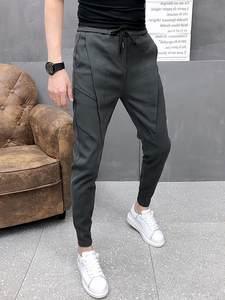 Pants Men Drawstring Slim-Fit Autumn Thick Black/gray Winter Korean Solid High-Quality
