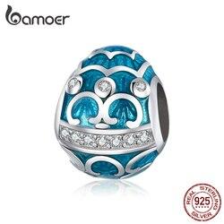 Bamoer Pasen Serie Blauw Ei Emaille Charme Voor Originele Zilveren Armband & Bangle 925 Sterling Zilveren Diy Sieraden Armband BSC220