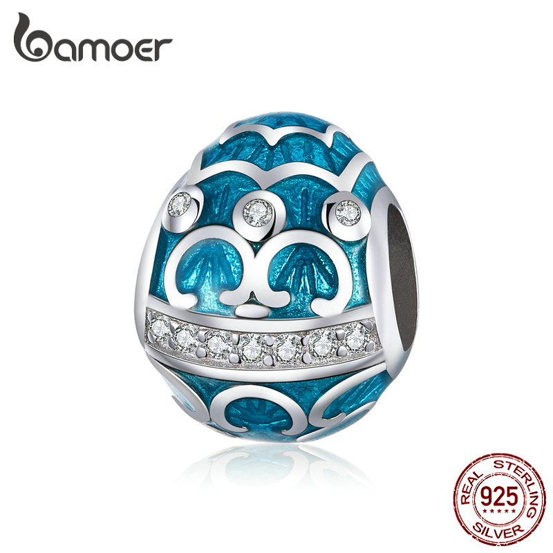Bamoer Easter Series Blue Egg Enamel Charm For Original Silver Bracelet & Bangle 925 Sterling Silver DIY Jewelry Bracelet BSC220