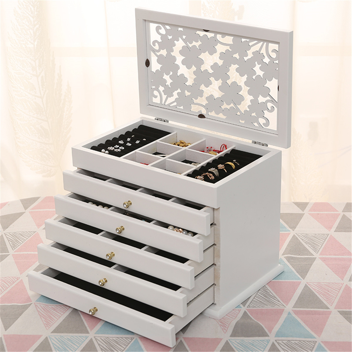 Jewelry Organizer Ring-Boxes Casket Wooden Multi-Layer White/brown Big 6-Floors title=