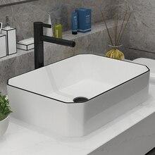 Художественная керамическая раковина для ванной комнаты керамическая раковина 50*37 см, кран для ванной комнаты белый дизайнерский бассейн смеситель
