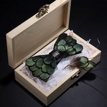 RBOCOTT оригинальные зеленые Птицы Перо галстуки-бабочки натуральная ручная работа брошь-бант в деревянной коробке Подарочная коробка набор для мужчин деловые Вечерние