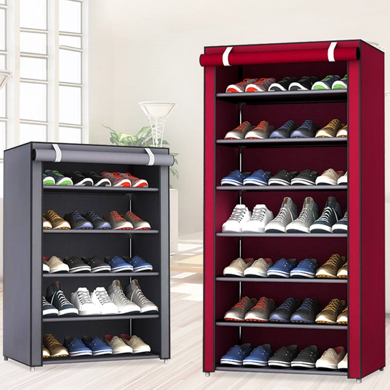 Multilayers Stainless Steel Shoe Rack Home Organizer For Shoe Shelf Cabinet Dust-proof Iron Shelves For Shoes Storage Rack Shelf