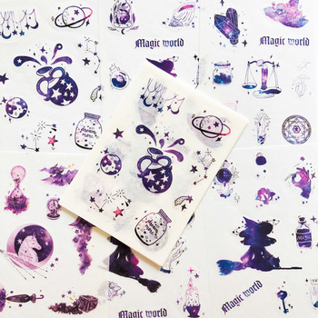 6 Sheets /Pack Purple Resplendent Like Stars Washi Paper Sticker Notebook Computer Phone Decoration - discount item  15% OFF Stationery Sticker
