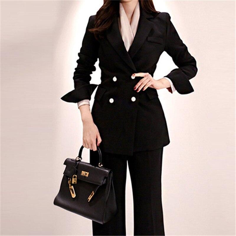 Autumn Winter Blazer Suit Women Black Business Suits Pearl Double Breasted Fashion Blazer Suits Coat Long Pants Suit 2 Piece Set